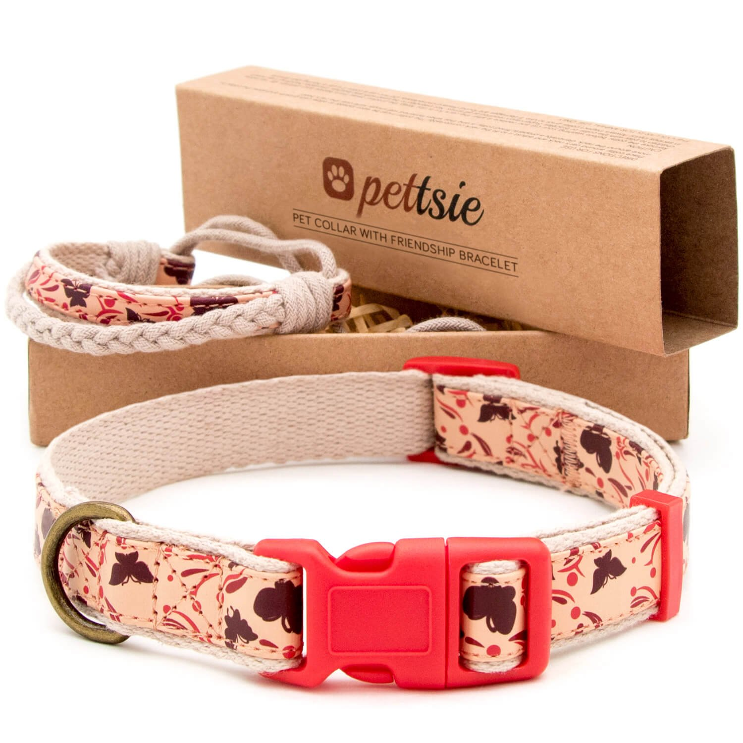 Pettsie Matching Dog Collar and Owner Friendship Bracelet, Adjustable Size Small and Medium, Safe, Durable, Eco Friendly Hemp with Fancy Pattern, Comfortable, Strong