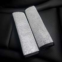 Dualshine 2 Pack Seat Belt Cover for Car, Universal Microfiber Leather with Rinestones Diamond Seat Belt Cover Shoulder Pad, Luster Crystal Car Seatbelt Covers Diamond Car Decor Accessories for Women