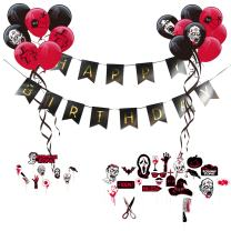 Zombie Party Theme Happy Birthday Decoration Kit Latex Balloons Scary Photo Booth Props Halloween Party Supplies SUNBEAUTY