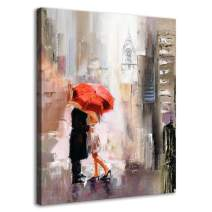RUISHI Canvas Wall Art Modern New York Cityscape Large Romantic Canvas Painting Art Wall Decor Lovers Under Red Umbrella Street Scenery Framed Pictures for Living Room Bedroom Home Office Decoration