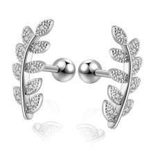 Leaf Stud Earrings Stainless Steel Barbell Cartilage Helix Earrings for Women Conch Piercing Jewelry