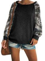 Sidefeel Women Crewneck Pullover Camo Print Sleeve Sweatshirt Jumper Top Small Black