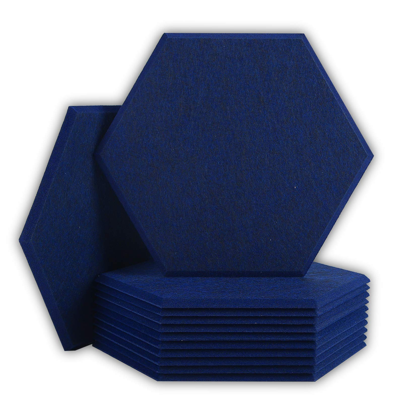 BUBOS 12 Pack Hexagon Acoustic Panels Soundproof Wall Panels,14 X 13 X 0.4Inches Sound Absorbing Panels Acoustical Wall Panels, Acoustic Treatment for Recording Studio, Office, Home Studio,Dark Blue