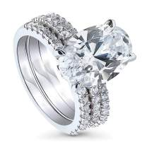 BERRICLE Rhodium Plated Sterling Silver Oval Cut Cubic Zirconia CZ Hidden Halo Solitaire Engagement Wedding Ring Set 6.53 CTW