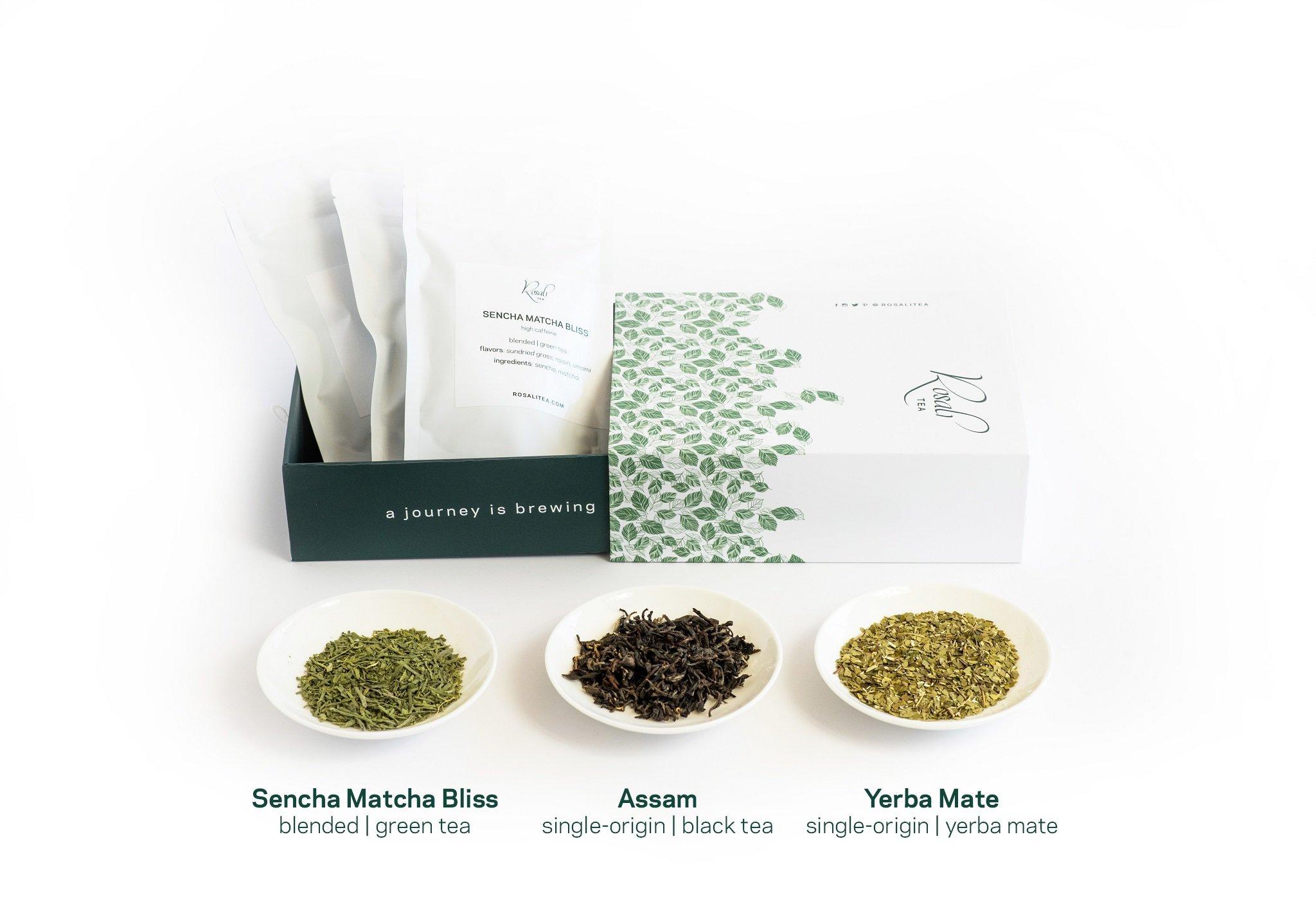 Rosali Tea Gift Box - Premium Loose-Leaf Tea Sampler with 3 Teas, a Wooden Teaspoon and Filters, Energy Box