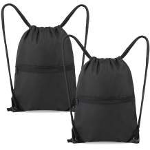 Drawstring Backpack Bags with Zipper Pocket 2 Pack for Gym Sports Drawstring Bags for Teens Men Women Black