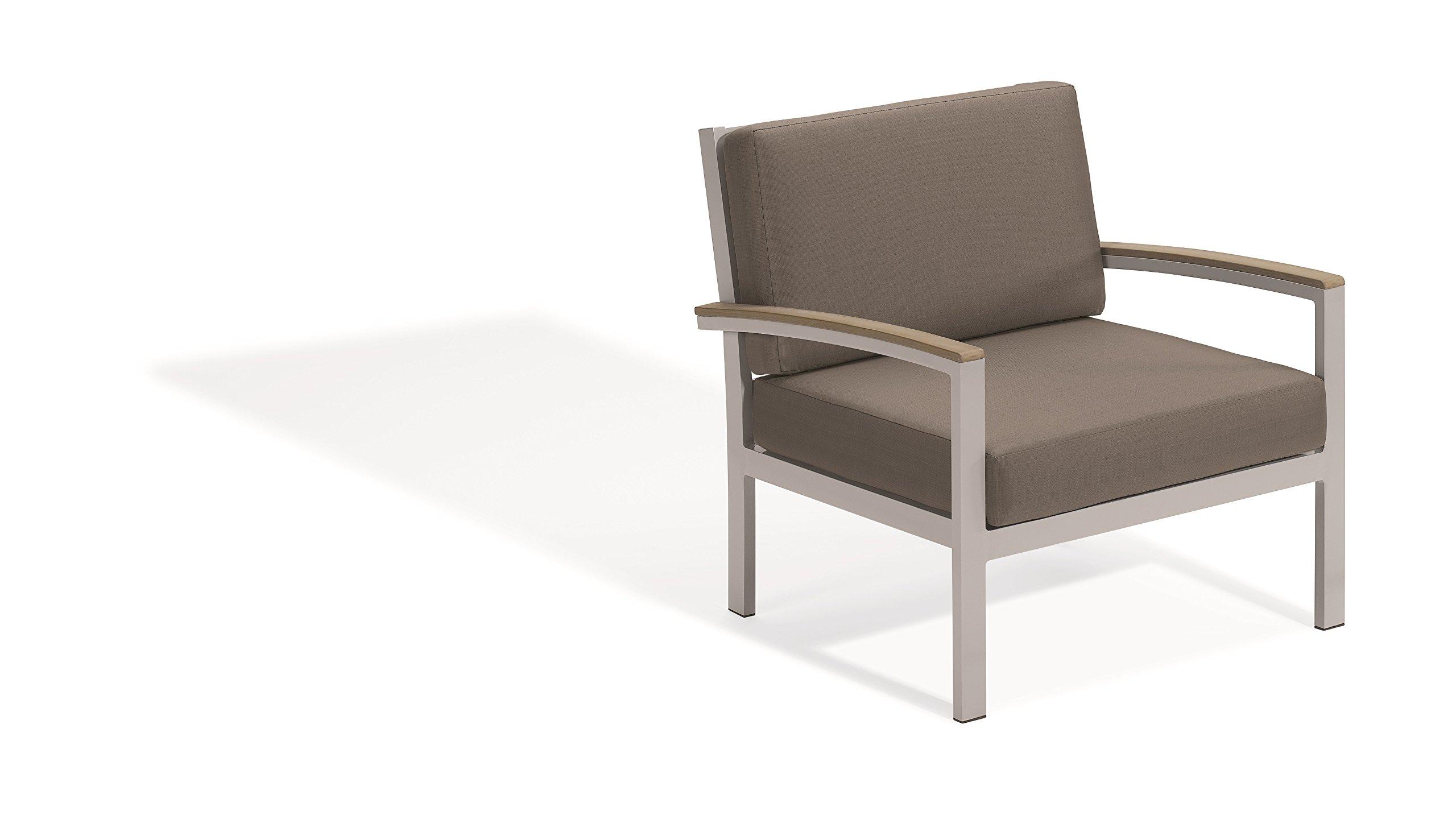 Oxford Garden Travira Club Chair - Powder Coated Aluminum Frame - Stone Cushion - Vintage Tekwood Armcaps