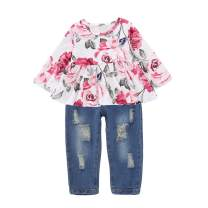 Infant Baby Girls Ruffle Floral T-Shirt Tops Distressed Denim Jeans Pants Outfit Set