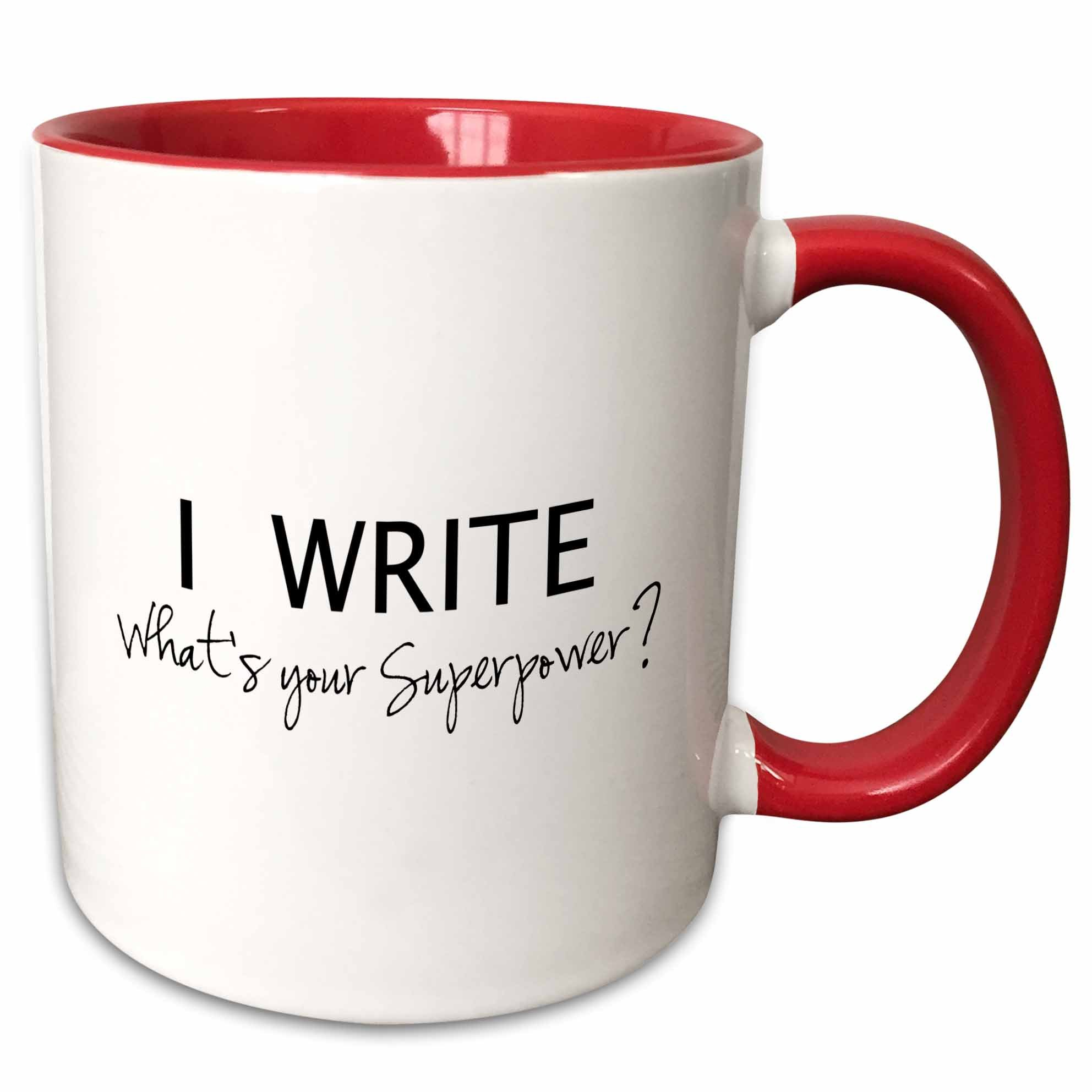3dRose superpower-fun gift for writers-writing love Two Tone Mug, 11 oz, Red