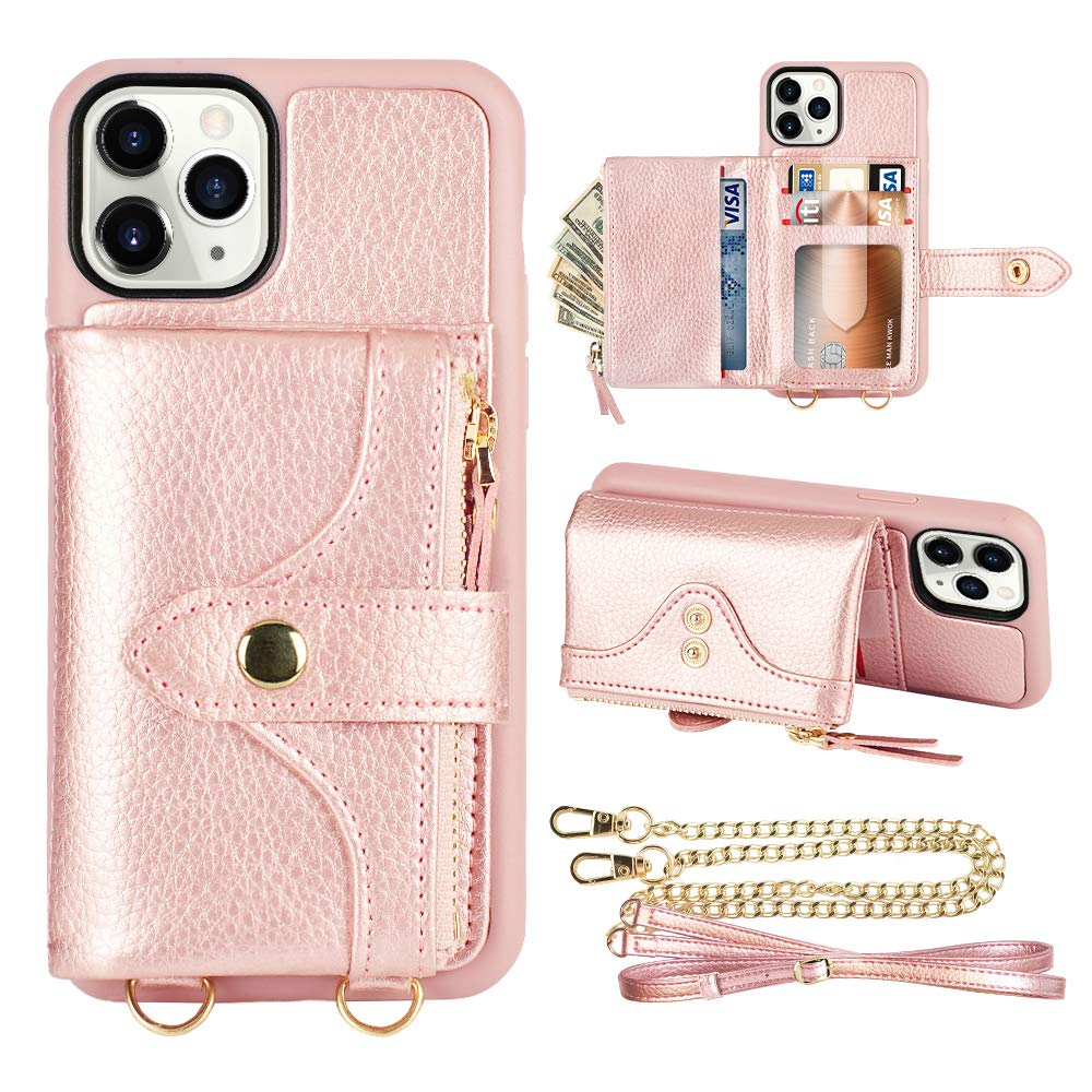 LAMEEKU iPhone 11 Pro Wallet Case, iPhone 11 Pro Case Wallet with Card Holder Crossbody Wallet Case Leather Zipper Wallet Case with Wrist Strap Bumper Case for iPhone 11 Pro,5.8 Inch-Rose Gold