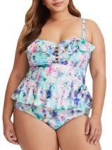 Modershe Womens Plus Size 2 Piece Swimwear Peplum Tankini Tops Tummy Control Floral Swimsuits