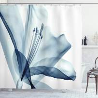 """Ambesonne Flower Shower Curtain, Close Look to Flowerrrangement with X-ray Effect Nature Imagertwork Print, Cloth Fabric Bathroom Decor Set with Hooks, 70"""" Long, Teal White"""