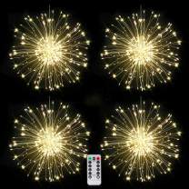 120 LED Firework Lights, Copper String Lights,Battery Operated Hanging Starburst Light, 8 Modes Dimmable Christmas Decorative Twinkle Fairy Lights for Party Yard Garden Bedroom Warm White Pack of 4
