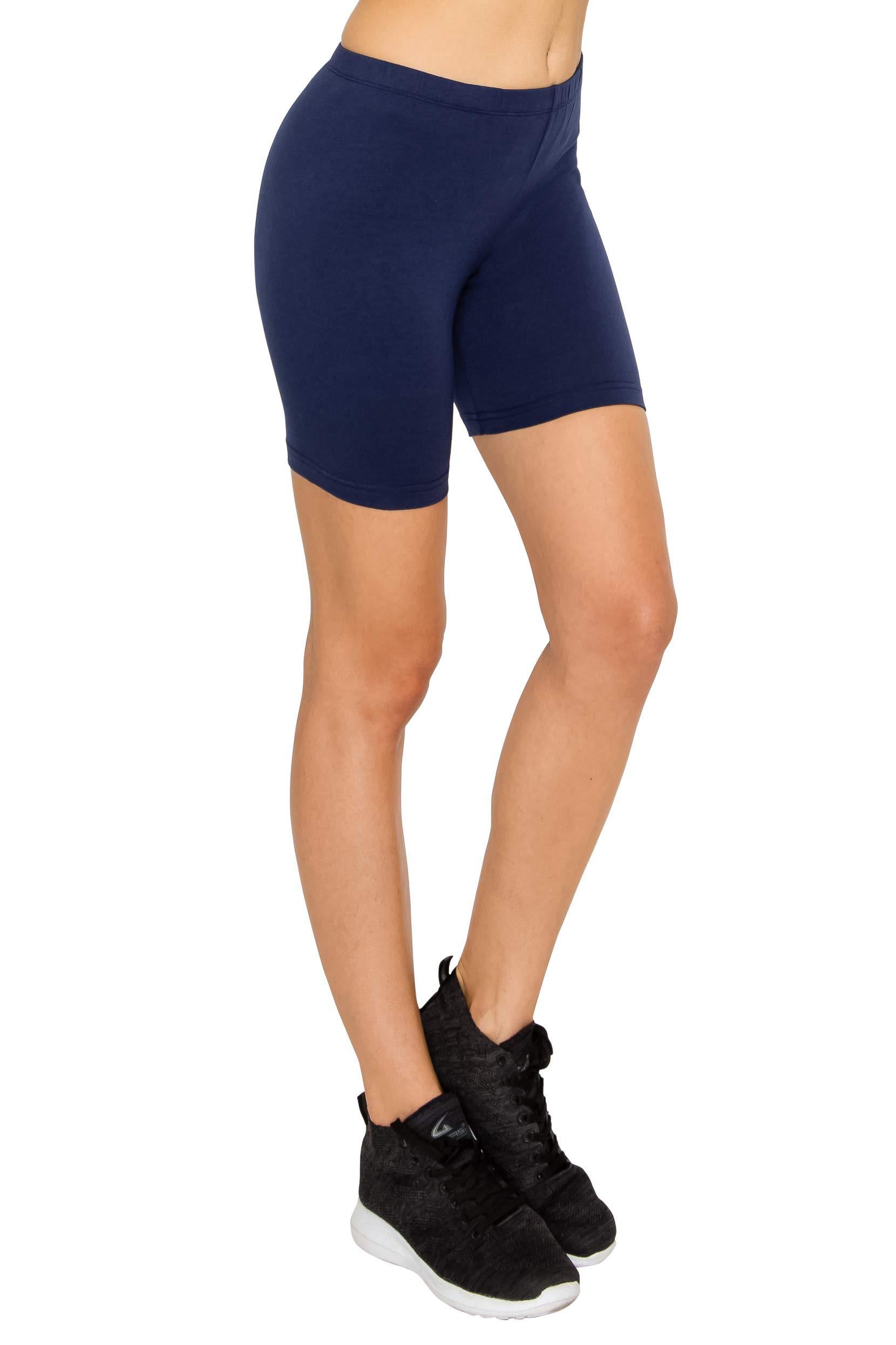 "EttelLut Cotton Active Running Bike Leggings-Athletic Exercise Yoga Walking 7""/3"" Shorts"