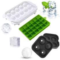 SUNUOZHE Ice Cube Trays Silicone Combo Mold - Set of 3, Sphere Ice Ball Maker with Lid & Large Square Molds Diamond model, Reusable and BPA Free