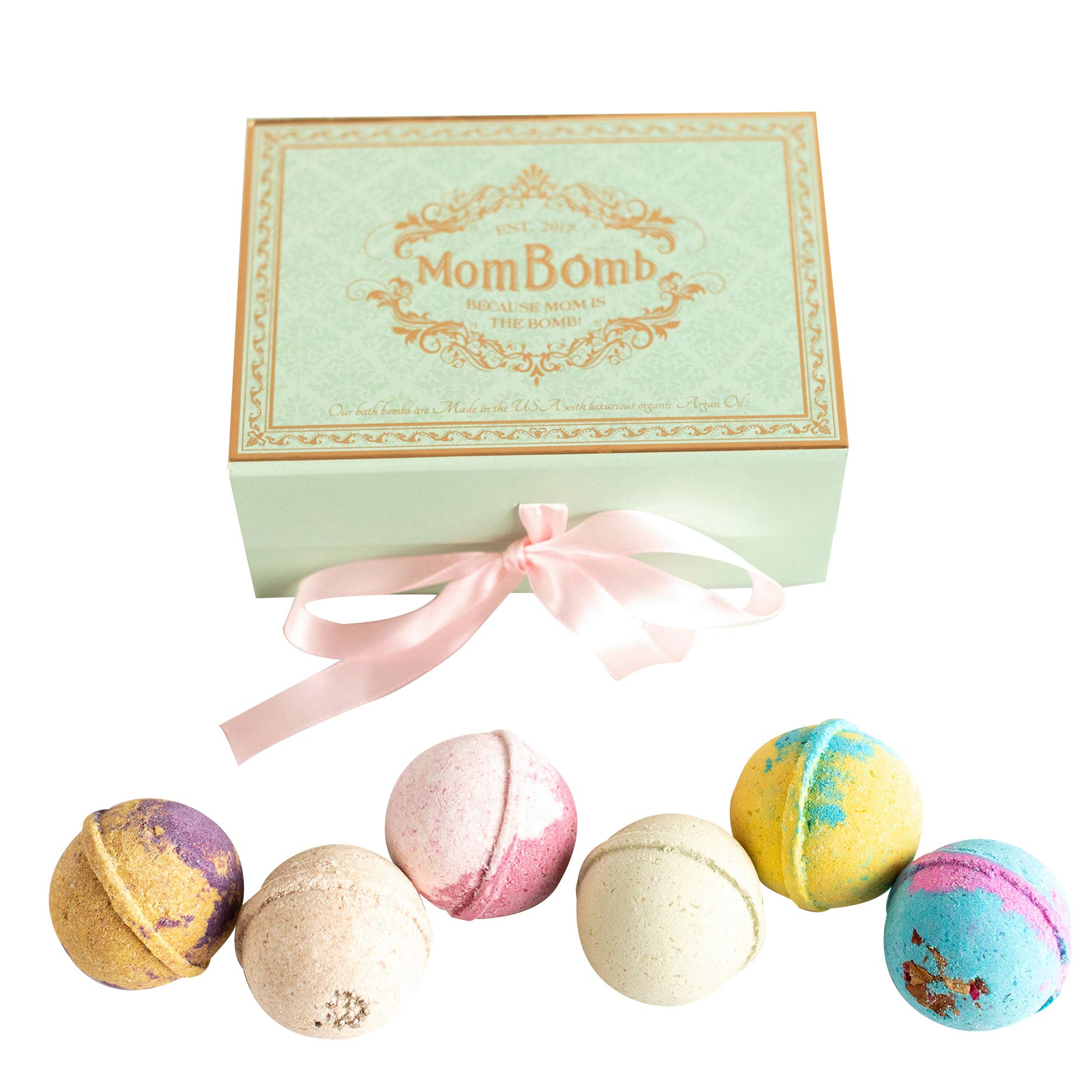 Bath Bomb Gift Set – Each of the 6 aromatherapy bath bombs has a unique fragrance and essential oils, made with organic, natural ingredients. Makes a perfect gift. Proceeds Fund Charity to Help Moms.