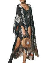 Chunoy Women Casual Floral Striped Tie Dye Lightweight Kimono Cardigan Long Maxi Outfit Beach Wear Cover Up