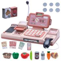 maxgoods Cash Register for Kids Electronic Toy Cash Register with Mic Scanner and Play Money (Pink)