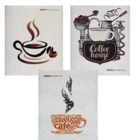 Mixed Coffee Set of 3 cloths (one of each design) Swedish Dishcloths   ECO Friendly Absorbent Cleaning Cloth   Reusable Cleaning Wipes