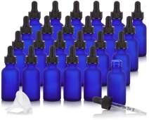 1 oz Frosted Cobalt Blue Glass Boston Round Graduated Measurement Glass Dropper Bottle (24 pack) + Funnel