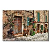 Streets of Old Mediterranean Towns Flower Door Windows Wall Art Painting The Picture Print On Canvas Architecture Pictures for Home Decor Decoration Gift