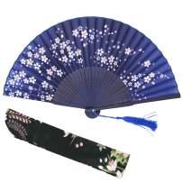 "Lysa Women Hand Held Silk Folding Fan with Bamboo Frame-Silk Tissue Protective Sleeve - Chinese/Japanese Style of ""Sakura Butterfly Love"" Pattern (Little Sakura-Blue)"