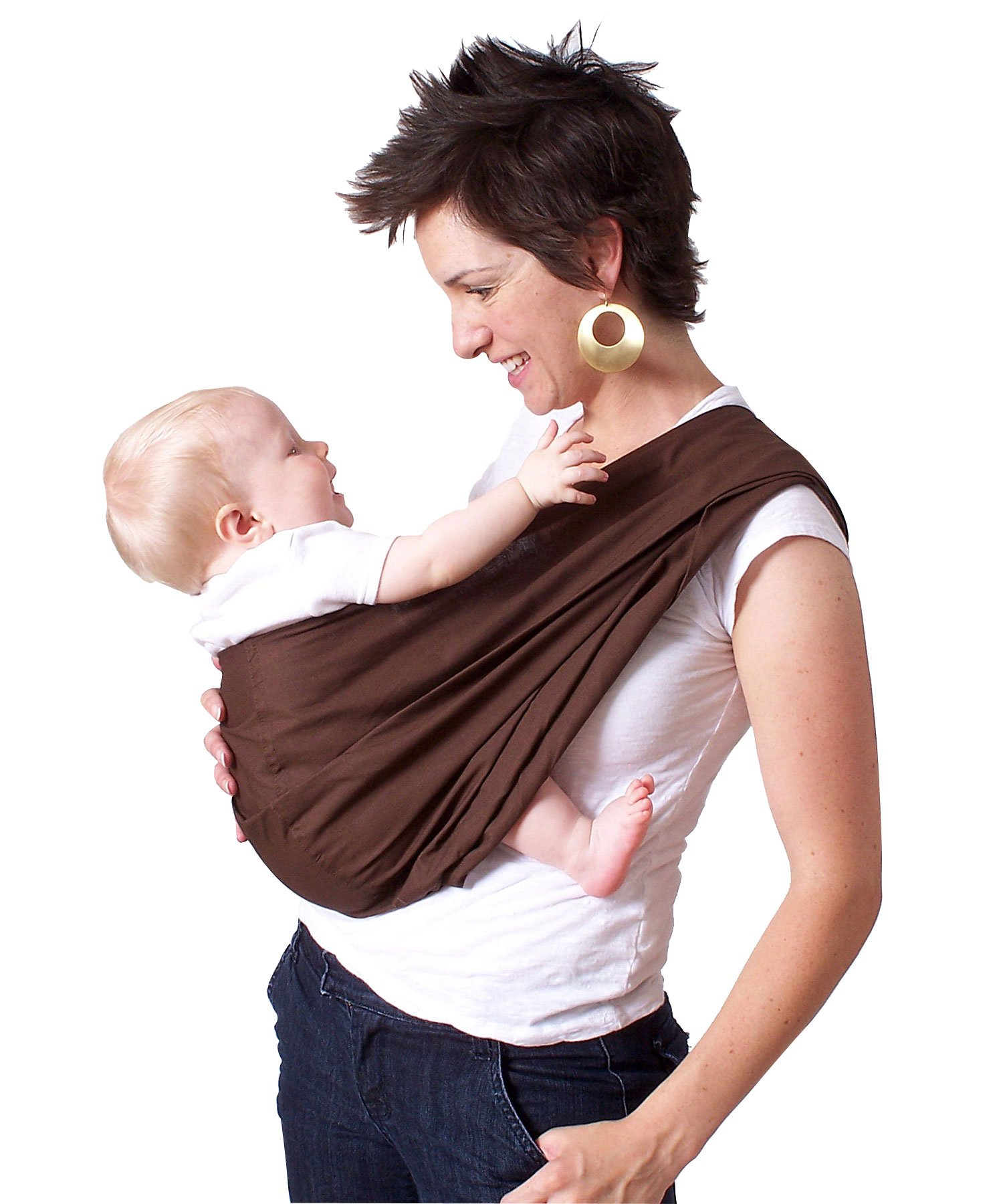 HugaMonkey Cotton Baby Sling Wrap Carrier for Newborn Babies, Infants and Toddlers Upto 3 Years - Brown, Extra Large