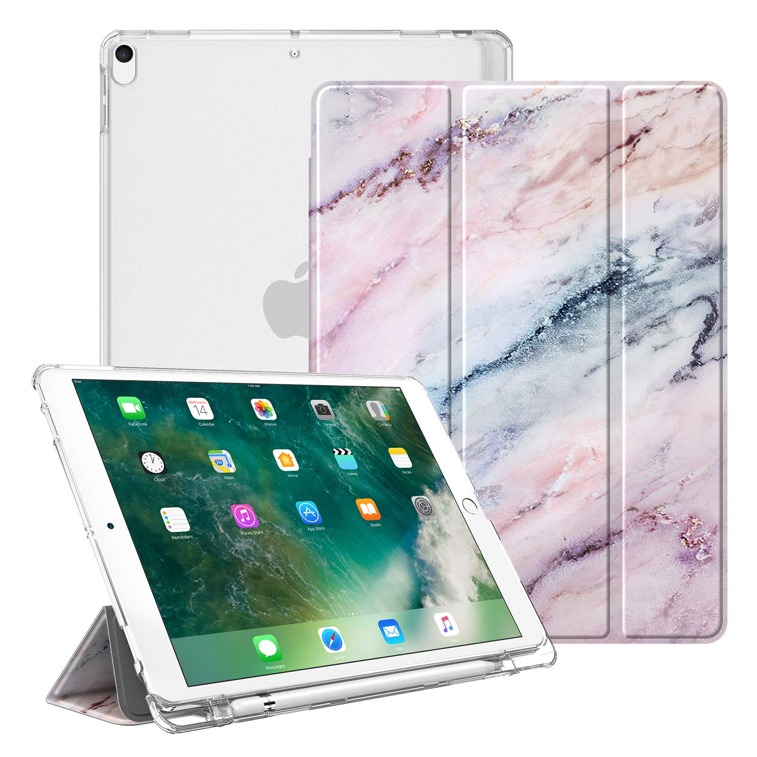 """Fintie Case for iPad Air 10.5"""" (3rd Gen) 2019 / iPad Pro 10.5"""" 2017- Lightweight Slim Shell Standing Cover with Translucent Frosted Back Cover with Pencil Holder, Auto Wake/Sleep, Marble Pink"""