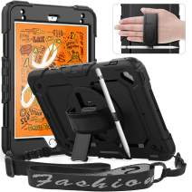 Timecity iPad Mini 5 Case, iPad Mini 5th Generation Case,Shockproof, 360 Degree Rotation Kickstand [Pencil Holder] Hand Strap,Shoulder Strip,Built-in Screen Protector Case for iPad Mini 4/5 7.9 -Black