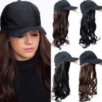 "SLLIE 18"" Baseball Cap With Synthetic Hair Extensions Curly Wavy Hairpiece Wig with Adjustable Black Baseball Hat with Hair for Women"