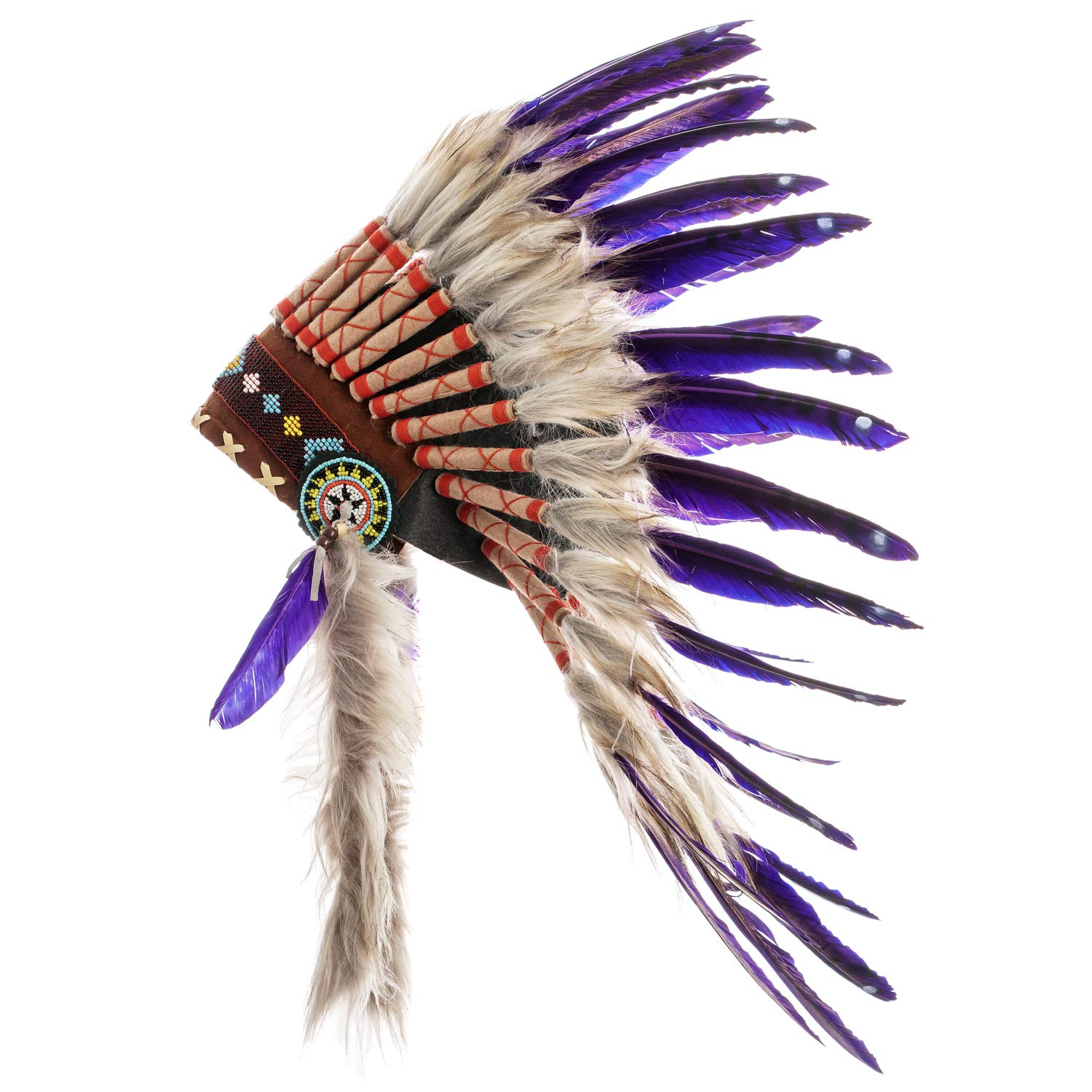 Novum Crafts Feather Headdress | Native American Indian Inspired | Choose Color