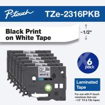 """Brother Genuine P-Touch, TZe-231 6 Pack Tape ½"""" (0.47"""") x 26.2 ft. (8m) 6-Pack Laminated P-Touch Tape, Black on White, Perfect for Indoor or Outdoor Use, Water Resistant, TZE2316PKB (tze231)"""