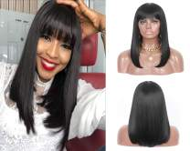 Sotica 18'' Long Straight Black Bob Wigs with Hair Bangs Middle Parted Heat Resistant Synthetic Full Wigs for Women