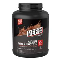 MET-Rx Natural Whey Protein Powder, Great for Meal Replacement Shakes, Low Carb, Gluten Free, Chocolate, 5 lbs, With Vitamin D and Vitamin C