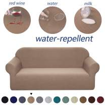 Granbest Premium Water Repellent Sofa Cover High Stretch Couch Slipcover Super Soft Fabric Couch Cover (Camel, Loveseat)