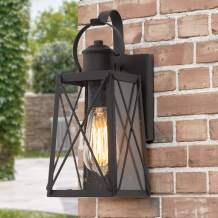LNC Outdoor Wall Light, X-Shape/Seeded Glass Shade, Matte Black Finish, E26 Socket, Weather Resistant Wall Sconce, Exterior Porch Light Fixture for House, Garage, Backyard