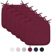 """Chair Cushion Pads with Ties Non Slip Honeycomb Memory Foam Seat Chair Cushion Pads Premium Comfort Memory Foam Chair Pads/Cushions Square 16"""" x 16"""" Seat Cover, 6 Pack, Burgundy"""