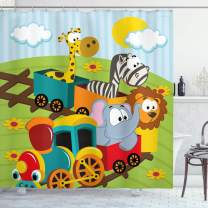 "Ambesonne Animal Shower Curtain, Cartoon Baby Safari Wild Animals in a Train with Striped Backdrop Toys Artwork Print, Cloth Fabric Bathroom Decor Set with Hooks, 70"" Long, Blue Green"