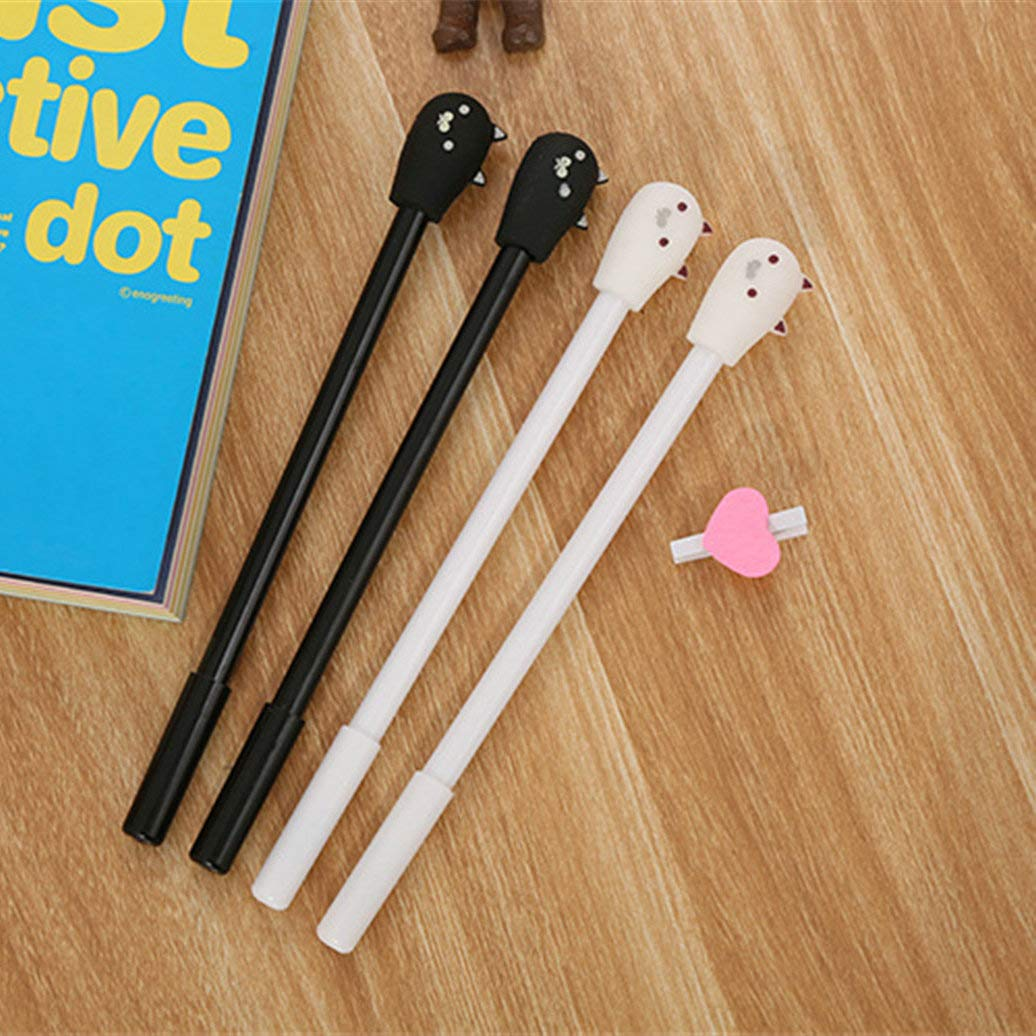WIN-MARKET Animal Lovely Simple Cat Gel Ink Pen Cute Kawaii Black Writing Pens Ballpoint Black Ink Gel Pen Party Gift Gel Ink Pens Funny School Stationery Office Supplies(8PCS)