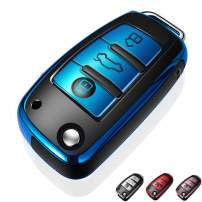 Autophone for Audi Key Fob Cover Case Premium Soft TPU 360 Degree Entire Protection Key Shell Key Case Cover Compatible with Audi A1 A3 A6 Q2 Q3 Q7 TT TTS R8 S3 S6 RS3 Smart Key -Blue