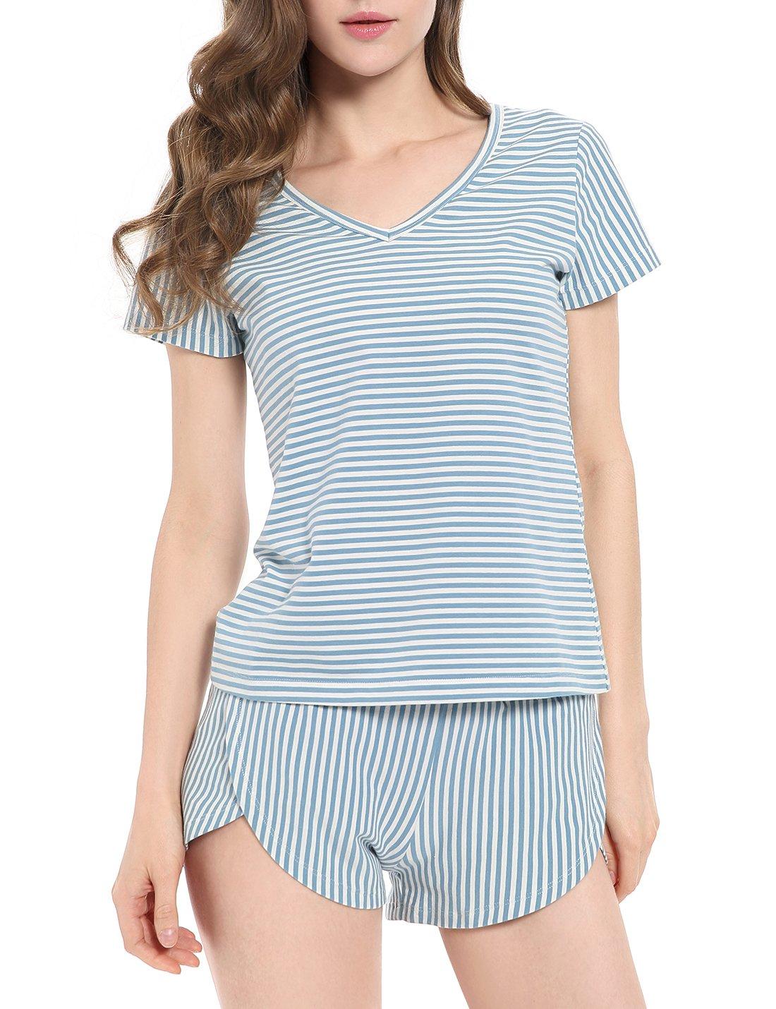 N NORA TWIPS Women's Pajamas Set V Neck Cotton Striped Short Sleeves Top Pants