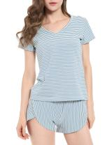 N NORA TWIPS Women's Pajamas Set V Neck Cotton Striped Short Sleeves Top Pants