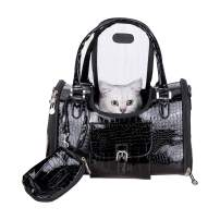 Fashion Dog Carrier PU Leather Dog Handbag Dog Purse Cat Tote Bag Pet Cat Dog Hiking Bag Travel Bag