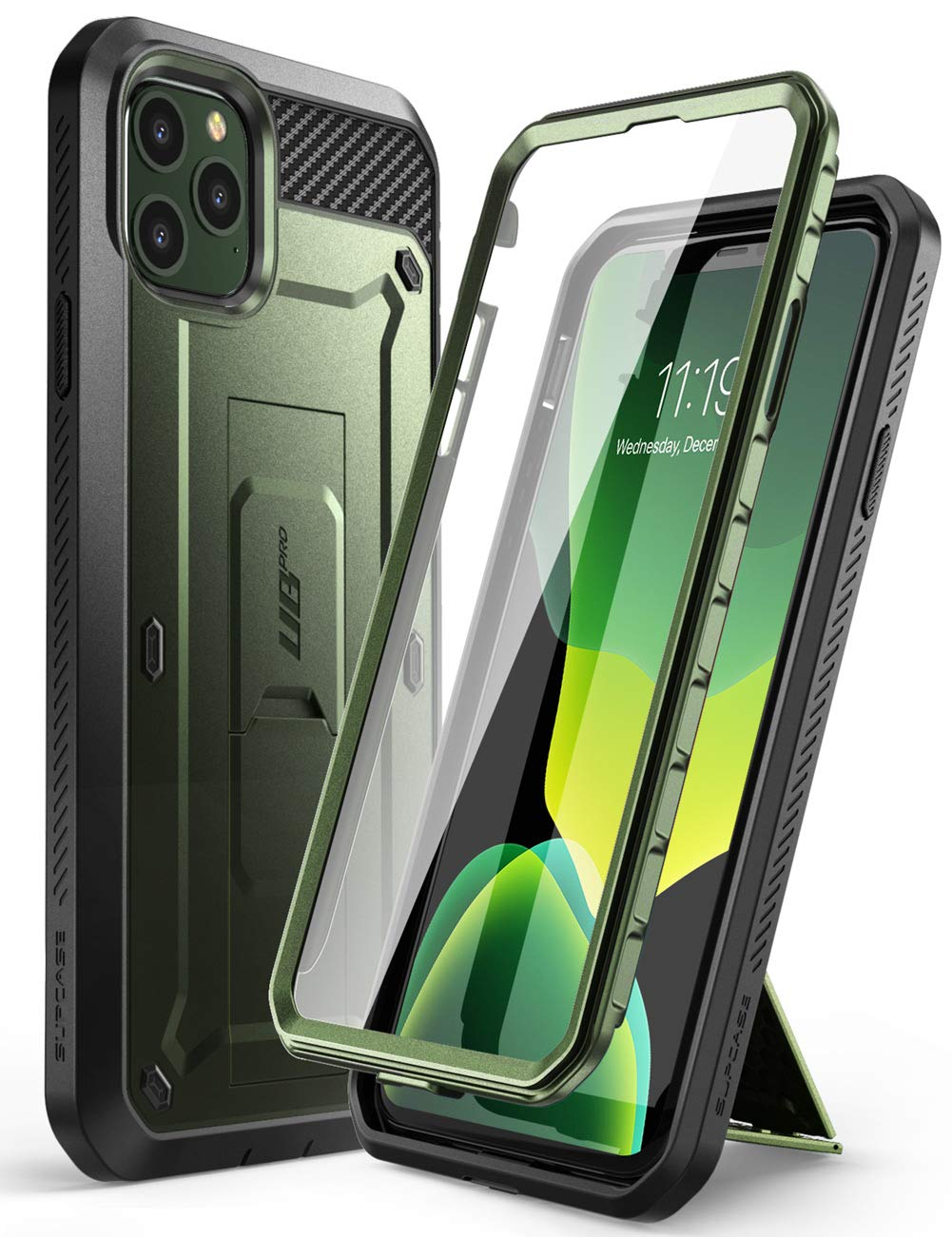 SUPCASE Unicorn Beetle Pro Series Phone Case Designed for iPhone 11 Pro Max 6.5 Inch (2019 Release), Built-in Screen Protector Full-Body Rugged Holster Case(MetallicGreen)