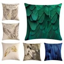 XIECCX Throw Pillow Covers Decorative Pillowcases Bird Feather Spring New Life 6 Set-Soft Linen Cotton Design Sofa,Bedroom,Chair,Car Seat,Farmhouse 18 x 18