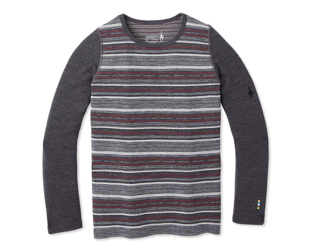 Smartwool Kids' Baselayer Pattern Crew - Merino 250 Wool Boys Crewneck Performance Shirt
