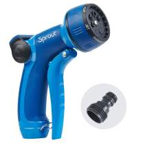 Sprout 65108-AMZ Metal Front Trigger 7-Pattern Nozzle and QuickConnect Product Adapter Amazon Bundle, Blueberry Blue