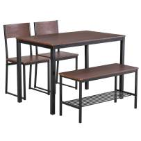 HOMCOM Industrial Dining Table Set Space-Saving 4-Piece Furniture Set for Kitchen, Dining Room, Dinette with Chairs, Bench & Storage Rack, Black/Brown