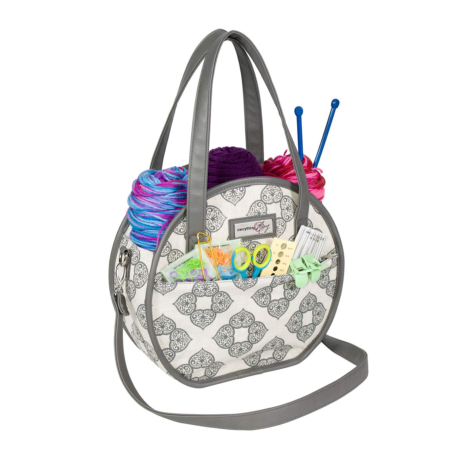 Everything Mary Rounded Crochet Knitting Bag Organizer, Linen - Yarn Storage Caddy for Arts & Crafts - For Needles, Thread, & Supplies - Craft Case for Crocheting Accessories - Supply Tote for Art