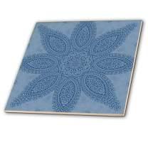 3dRose 3D Rose Blue Big Elegant Fractal Flower Mandala-Ceramic Tile, 12-inch (ct_42003_4)